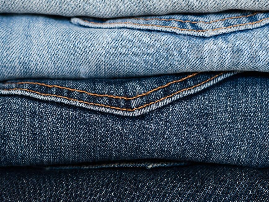 blue jeans fabric close up
